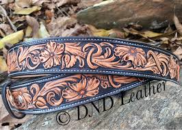 custom leather belt with hand carved fl tooling in a non repeating pattern