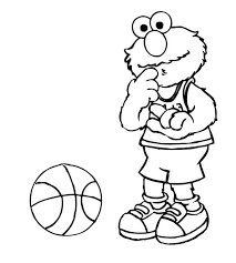Small Picture Elmo Playing Basketball in Sesame Street Coloring Page Color Luna