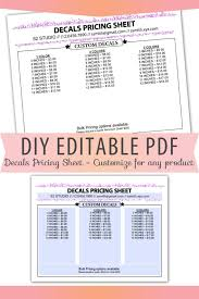 Vinyl Decal Pricing Chart Vinyl Decals Pricing Sheet Editable Pdf Letter Size Forms