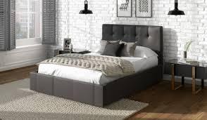 Black leather bed frame Soft Bed 135cm Bed Frame Dorado Grey Matt Faux Leather With End Drawer Yourpt Dorado Faux Leather Bed Frame Bensons For Beds
