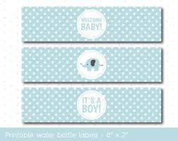 Baby Blue Elephant Baby Shower Water Bottle Labels With Polka Dots Baby Boy Shower Water Bottle Labels