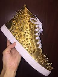 New Arrive Fashion Mens Womens Gold Sheep Skin With Gold Spikes High Top Red Bottom Sneakers Brand Casual Skateboarding Sports Shoes 35 46 High Top