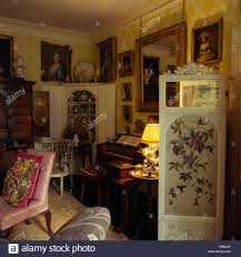 drawing room furniture images. Painted Antique Folding Screen In Drawing Room Jacobean Rectory With Furniture And A Lighted Lamp Images N