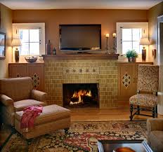 example of an eclectic living room design in new york with a tile fireplace