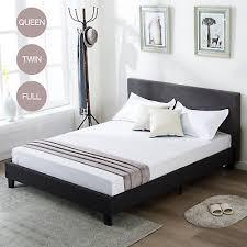 TWIN FULL QUEEN Size Platform Bed Frame Upholstered Linen Headboard Wood Slats