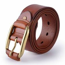 canwelum fashionable men s belt brown leather belts for men genuine men s leather belt for jeans with copper buckle model no