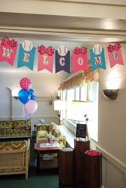 Bows and Baseball theme baby reveal party decorations