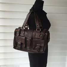 authentic mulberry roxanne chocolate darwin brown leather tote shoulder bag ee56d 35e85