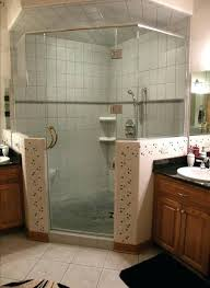 walk in shower half wall half wall shower glass angle w half walls inch clear glass