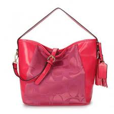 Coach Legacy In Signature Medium Fuchsia Shoulder Bags ANR