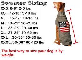 Sizing Chart For Dogs By Weight Large Dog Sweaters