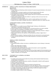Medical Supply Technician Resume Samples Velvet Jobs
