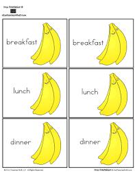 Breakfast Lunch And Dinner Chart Banana Pocket Chart Graphing Breakfast Lunch Or Dinner