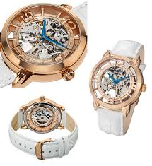 men s and women s stuhrling watches 83 for stuhrling men s winchester 44 watch crocodile leather strap skeletonized dial rosestone white 165b2 334p14 395 list price