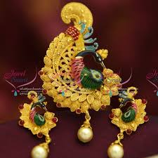 ps0945 exclusive peacock latest design painting work real look pendant set