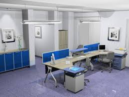 office desk decoration. Furniture, Modern White Office Decoration With Blue Cabinet, Gray Chairs And Semi Flush Mounting Desk E