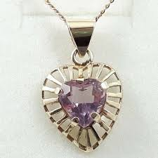 details about vintage 1960 s 9ct rose gold amethyst heart pendant and necklace