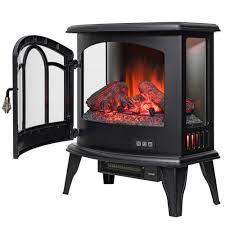 freestanding electric fireplace stove heater in black with remote