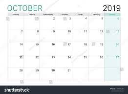 2019 October Calendar 2019 October Calendar Desk Planner Weeks Stock Vector Royalty Free