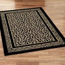 wild leopard rectangle rug black gold