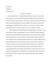 """the irony in miss brill is important but out the symbolism in  4 pages response to """"miss brill"""""""