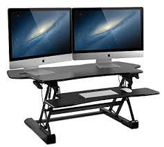 standing desk converter dual monitor. Contemporary Dual MountIt Large Standing Desk 48 Inch Extra Wide Height Adjustable Sit In Desk Converter Dual Monitor E