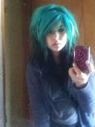 Teen emo blue hair
