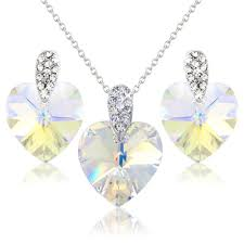 details about white heart pendant earrings set swarovski elements crystals gift boxed uk