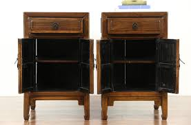 Antique Night Stands Sold Pair Of Antique 1900 Chinese Ash End Tables Or Nightstands
