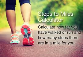 Exercise Conversion Chart Miles Steps To Miles Calculator Steps In A Mile
