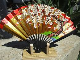 Japanese Fan Display Stand Japanese Fan With Display Stand Elegant Vivid Flower Water 11
