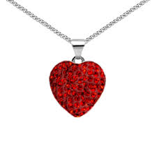 925 silver red crystal heart pendant