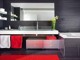girls bathroom design. White Ceramic Wall Mounted Washbasin Girls Bathrooms Design Red Gloss Color Layers Round Frameless Mirror Floor Tiles Blue Black Bathroom