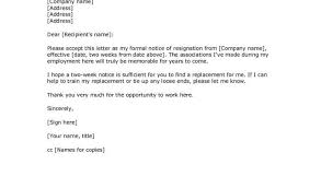 Format Of Writing A Resume Or 2 Weeks Notice Letter Resignation
