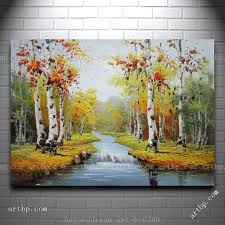 graceful waterside red and yellow birch trees landscape oil painting abstract techniques large acrylic paintings free