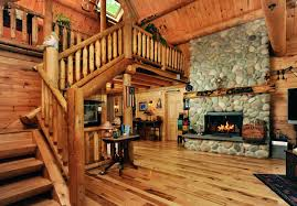 log home great room stone fireplace