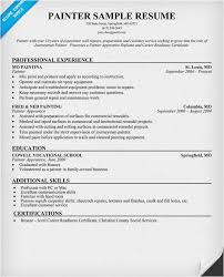 Painter Resume Fascinating Samples Of Resumes Free Template Sample Painter Resume Weoinnovate