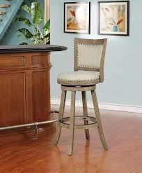 <b>Wooden Bar</b> Stool with Curved Backrest and Swivel Base, <b>Brown</b> ...
