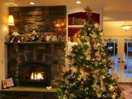 Decorations:Beautiful Living Room With Fireplace And Christmas Tree  Decoration Beautiful Living Room With Fireplace