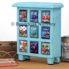 fair trade blue wooden storage chest 9 ceramic drawers e trinket