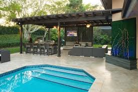 backyard pool and outdoor kitchen designs. Exellent Designs Outdoor Kitchen And Pergola Project In South Florida U2013 Traditional For Backyard  Designs Pool On Y
