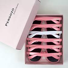 bride and bridesmaid sungles set of 6 white pink wayfarer style