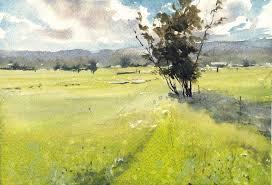 morning field by vinita pappas plein air watercolor