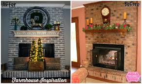 ... Painting Red Brick Fireplace Before After White Painted Images Paint  Colors Around ...