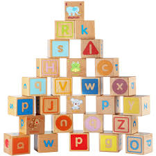 com lewo wooden abc blocks building extra large 26 pcs alphabet letters block set montessori educational toys for kids toddlers toys