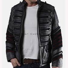designer men military leather jacket