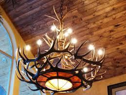 image of antique faux antler chandelier
