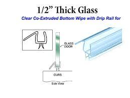 shower glass door seal co extruded bottom wipe with drip rail for 1 2 inch glass shower glass door