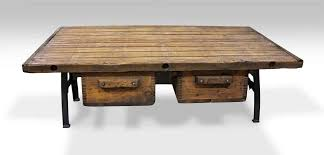 coffee table with two bin drawers cast iron legs