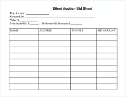 Sample Bid Sheets For Silent Auction Silent Auction Bid Sheet Cycling Studio